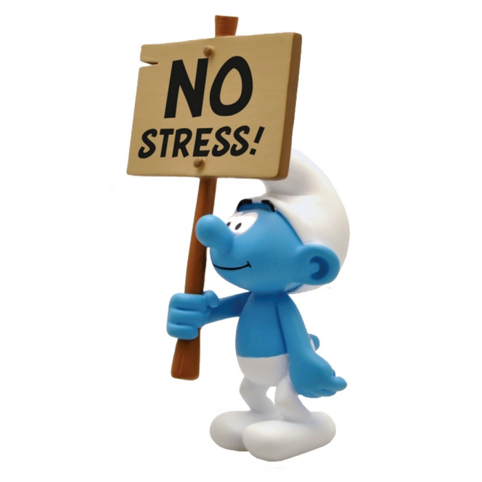 Figura de colección Plastoy: El Pitufo con su cartel No Stress! 149 (2018)