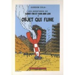 Ex-libris Offset Hommage à Tintin Gordon Zola Objet qui fume (14,5x21cm)