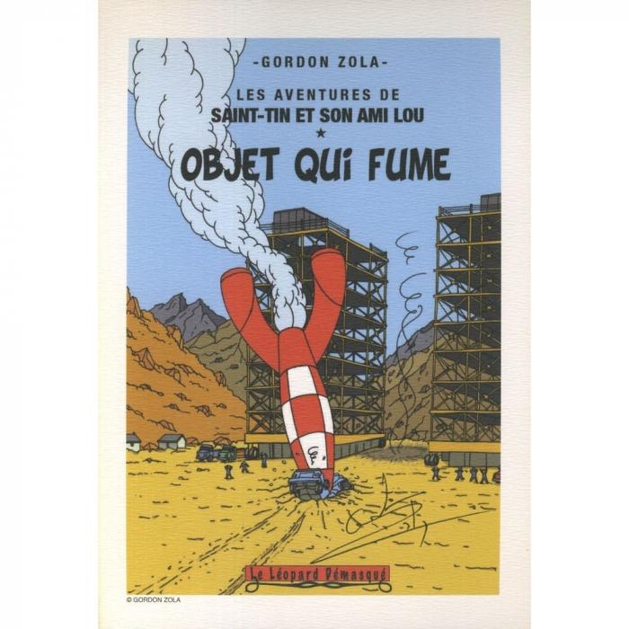 Ex-libris Offset Hommage à Tintin Gordon Zola Objet qui fume (21x14,5cm)