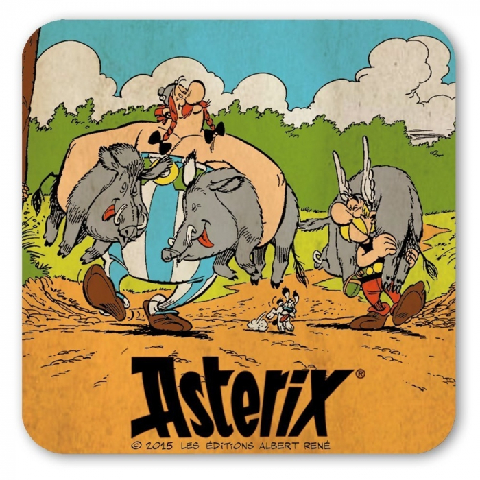 Sous-verres Logoshirt® Astérix et Obélix 10x10cm (Chasse au sanglier)
