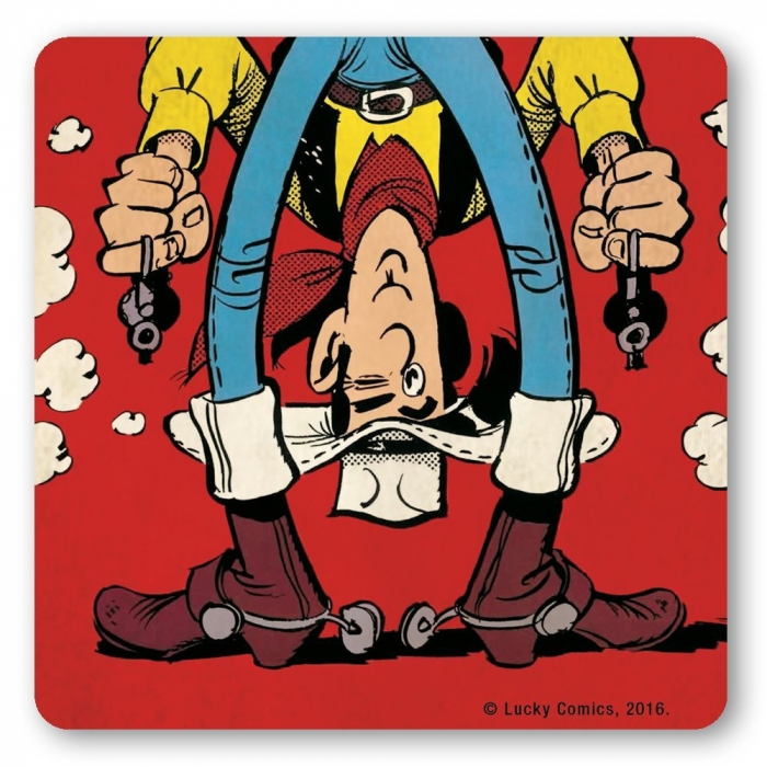 Lucky Luke Logoshirt® Coaster 10x10cm (Shooting Upside Down)