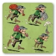 Posavaso Logoshirt® Lucky Luke 10x10cm (Los Dalton ladrones)