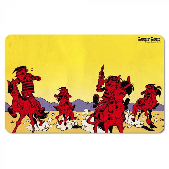 Tabla de desayuno Logoshirt® Lucky Luke 23x14cm (Los Dalton, Sunset)