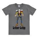 Camiseta 100% algodón Logoshirt® Easy Fit Lucky Luke Cowboy (Gris)