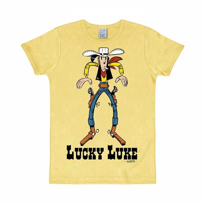 Camiseta 100% algodón Logoshirt® Lucky Luke Cowboy (Amarillo)