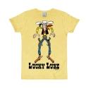 Camiseta 100% algodón Logoshirt® Slim Fit Lucky Luke Cowboy (Amarillo)