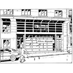 Savard d'après Hergé, Pastiche de Tintin: Objectif Monde (1999)