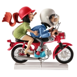 Figurine Gaston Lagaffe and Mlle Jeanne on motorcycle Figures et Vous GF14 2018