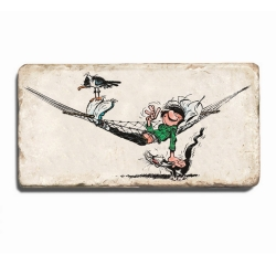 Collectible marble sign Gaston Lagaffe with his cat and seagull (20x10cm)