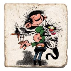 Placa de mármol de colección Tomás el Gafe con su gato y su gaviota (10x10cm)