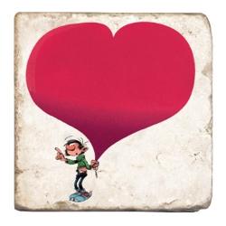 Placa de mármol de colección Tomás el Gafe Gaston Lagaffe con un gran corazón (10x10cm)