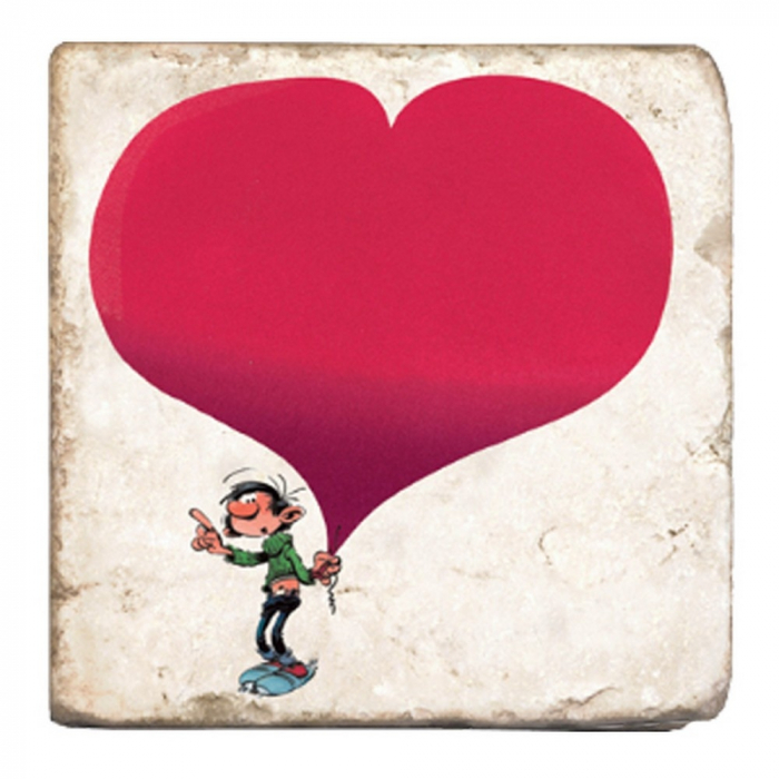 Collectible marble sign Gaston Lagaffe with a big heart (10x10cm)