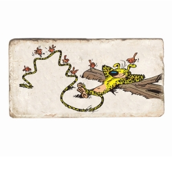 Plaque de marbre de collection Marsupilami Habou ! (20x10cm)