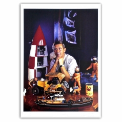 Póster cartel Plaizier Retrato de Hergé y su colección Tintín (50x70cm)