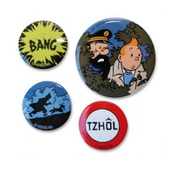 Set of 4 metal badges Moulinsart Tintin (2013)