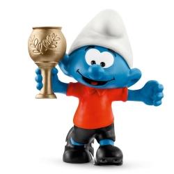 Figurine Schleich® Les Schtroumpfs - Schtroumpf footballeur avec trophée (20807)