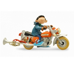 Collection Figurine Plastoy Gaston Lagaffe on his motorcycle Sapetoku (305)