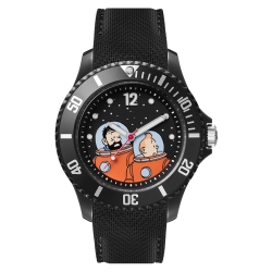 Montre silicone noire Moulinsart Ice-Watch Tintin et Haddock Astronaute (2018)