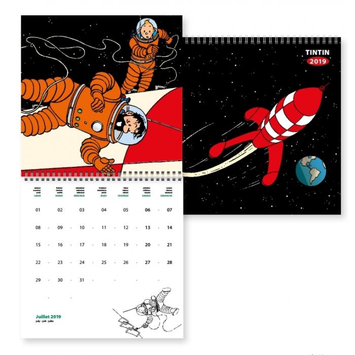 Calendrier mural 2019 Tintin On a marché sur la Lune 30x30cm (24398)