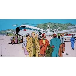 Poster offset Blake and Mortimer un vol sans histoire signed Juillard (100x50cm)