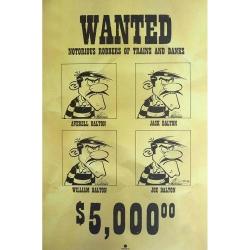 Poster affiche offset Lucky Luke Les Dalton Wanted, Achdé (40x60cm)