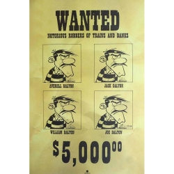 Póster cartel offset Lucky Luke Wanted Los Dalton, Achdé (40x60cm)