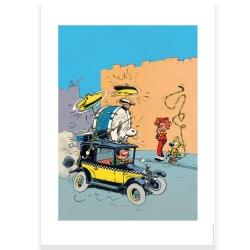 Poster offset Gaston Lagaffe driving the Fiat 509, Franquin (50x70cm)