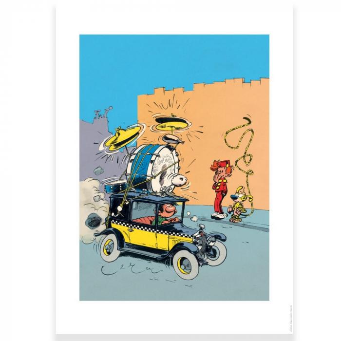 Póster cartel offset Tomás el Gafe en la Fiat 509, Franquin (50x70cm)