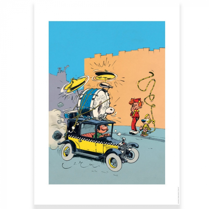 Poster offset Gaston Lagaffe driving the Fiat 509, Franquin (50x70cm)