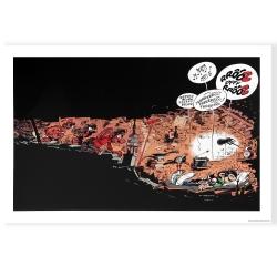 Poster affiche offset Gaston Lagaffe sieste aux archives, Franquin (70x50cm)