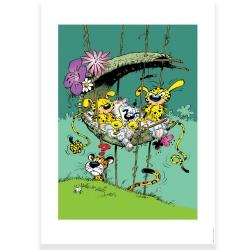 Poster affiche offset Marsupilami Le nid de la famille Marsu, Franquin (50x70cm)