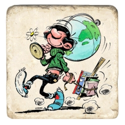 Collectible marble sign Gaston Lagaffe and the world map (20x20cm)