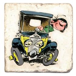 Placa de mármol de colección Tomás el Gafe en su coche (10x10cm)