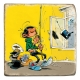 Collectible marble sign Gaston Lagaffe fishing for an agent kepi (10x10cm)