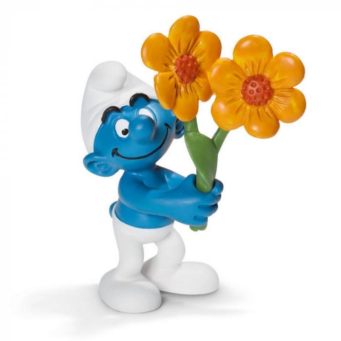 Figura Schleich® Los Pitufos - Pitufo con con flores de agradecimiento (20748)