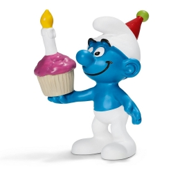Figura Schleich® Los Pitufos - Pitufo con tarta de cumpleaños (20751)