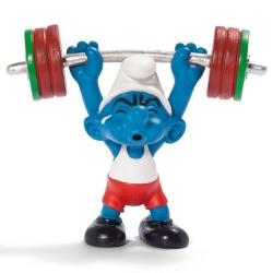 Figura Schleich® Los Pitufos - El Pitufo levantador de pesas (20737)