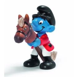 Figura Schleich® Los Pitufos - El Pitufo jinete con su caballo (20743)