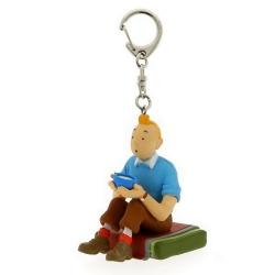 Porte-clés figurine Tintin assis 3,8cm Moulinsart 42447 (2010)