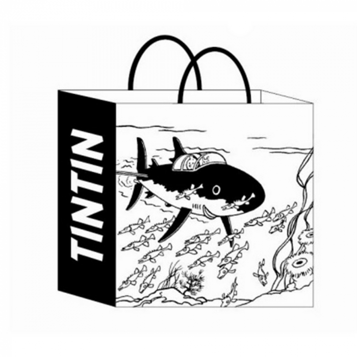 Recycled paper bag Tintin and Snowy in the Submarine Shark 44x42x20cm (04243)