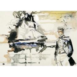 Poster affiche offset Corto Maltese, Avevo un appuntamento (80x60cm)