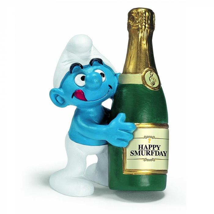 Figura Schleich® Los Pitufos - El Pitufo con una botella de champán (20708)