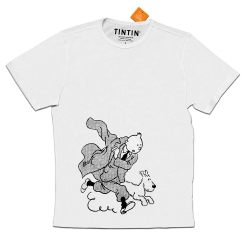 T-shirt Moulinsart de Tintin et Milou en action - Blanc (2018)