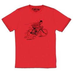 T-shirt Moulinsart Tintin fleeing on a bike with Snowy - Red (2018)