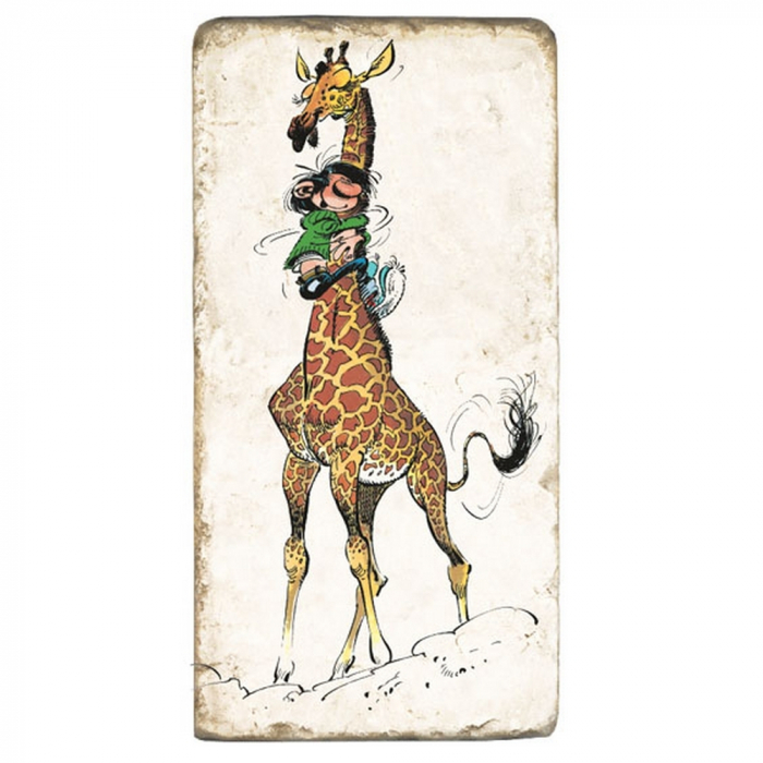 Collectible marble sign Gaston Lagaffe hanging on a giraffe (10x20cm)