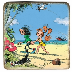 Plaque de marbre collection Gaston Lagaffe à la plage avec Mme Jeanne (10x10cm)
