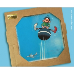 Collectible marble sign Gaston Lagaffe with his jumping ball (20x20cm)