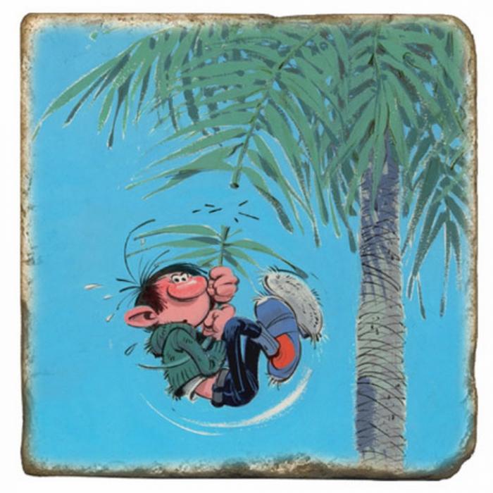 Placa de mármol de colección Tomás el Gafe colgando de una palmera (10x10cm)