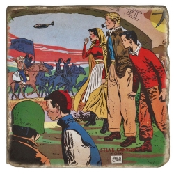 Collectible marble sign Steve Canyon, Milton Caniff In China (20x20cm)