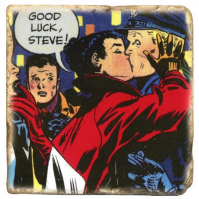 Plaque de marbre collection Steve Canyon, Milton Caniff Good Luck ! (10x10cm)